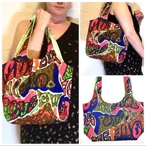 NEW Love Print Artisan Boho Handmade OOAK Tote